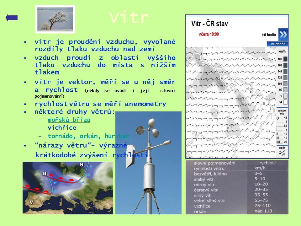 Vítr •vítr je proudění vzduchu, vyvolané rozdíly tlaku vzduchu nad zemí •vzduch proudí z oblasti vyššího tlaku vzduchu do místa s nižším tlakem •vítr