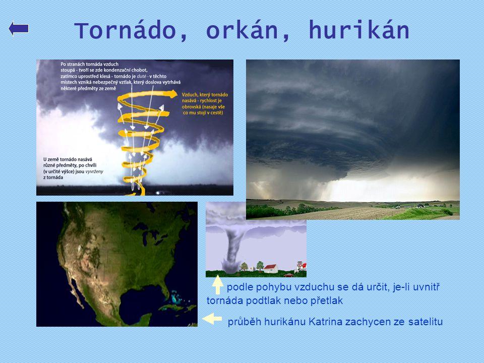 Tornádo, orkán, hurikán podle pohybu vzduchu se dá určit, je-li uvnitř tornáda podtlak nebo přetlak průběh hurikánu Katrina zachycen ze satelitu