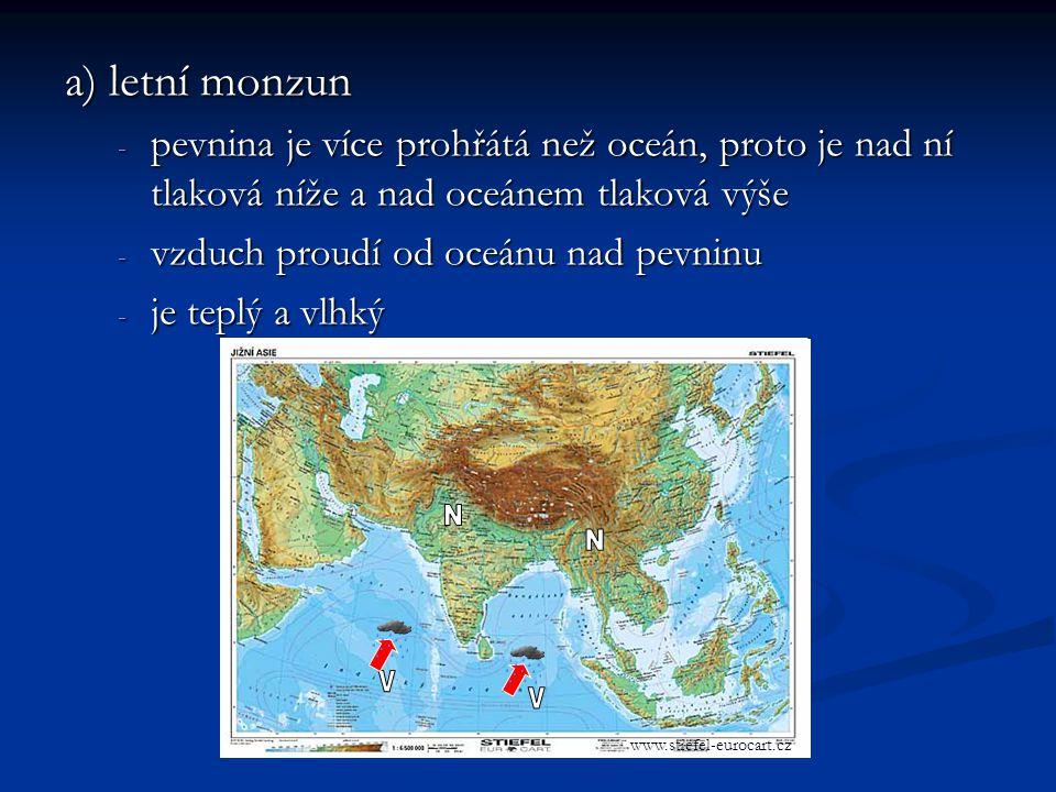 a) letní monzun - pevnina je více prohřátá než oceán, proto je nad ní tlaková níže a nad oceánem tlaková výše - vzduch proudí od oceánu nad pevninu - je teplý a vlhký www.stiefel-eurocart.cz