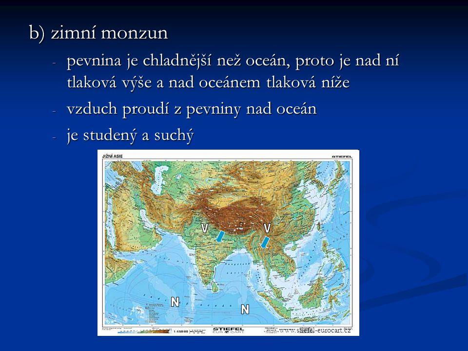 b) zimní monzun - pevnina je chladnější než oceán, proto je nad ní tlaková výše a nad oceánem tlaková níže - vzduch proudí z pevniny nad oceán - je studený a suchý