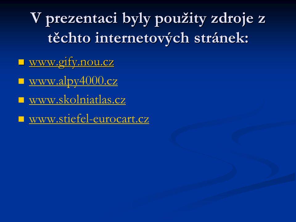 V prezentaci byly použity zdroje z těchto internetových stránek:  www.gify.nou.cz www.gify.nou.cz   www.alpy4000.cz www.alpy4000.cz   www.skolnia