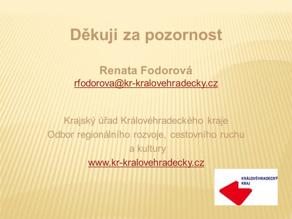 Děkuji za pozornost Renata Fodorová rfodorova@kr-kralovehradecky.cz Krajský úřad Královéhradeckého kraje Odbor regionálního rozvoje, cestovního ruchu a kultury www.kr-kralovehradecky.cz
