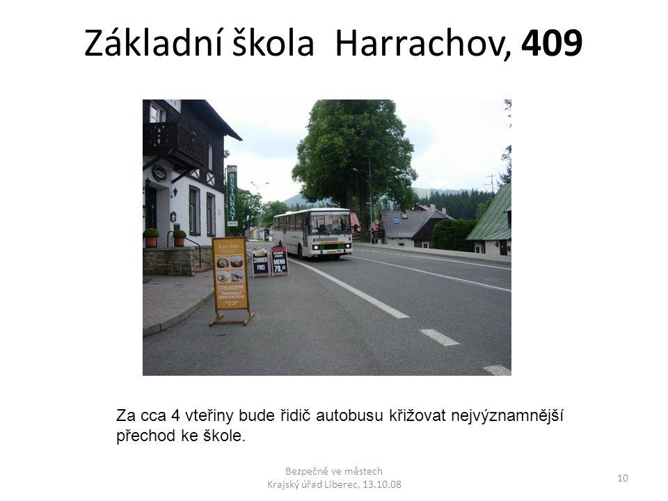 Základní škola Harrachov, 409 Za cca 4 vteřiny bude řidič autobusu křižovat nejvýznamnější přechod ke škole. 10 Bezpečně ve městech Krajský úřad Liber