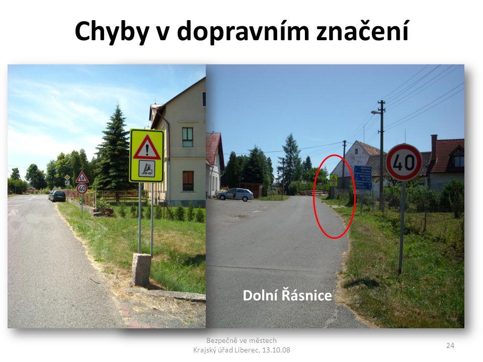 Chyby v dopravním značení Bezpečně ve městech Krajský úřad Liberec, 13.10.08 24 Dolní Řásnice