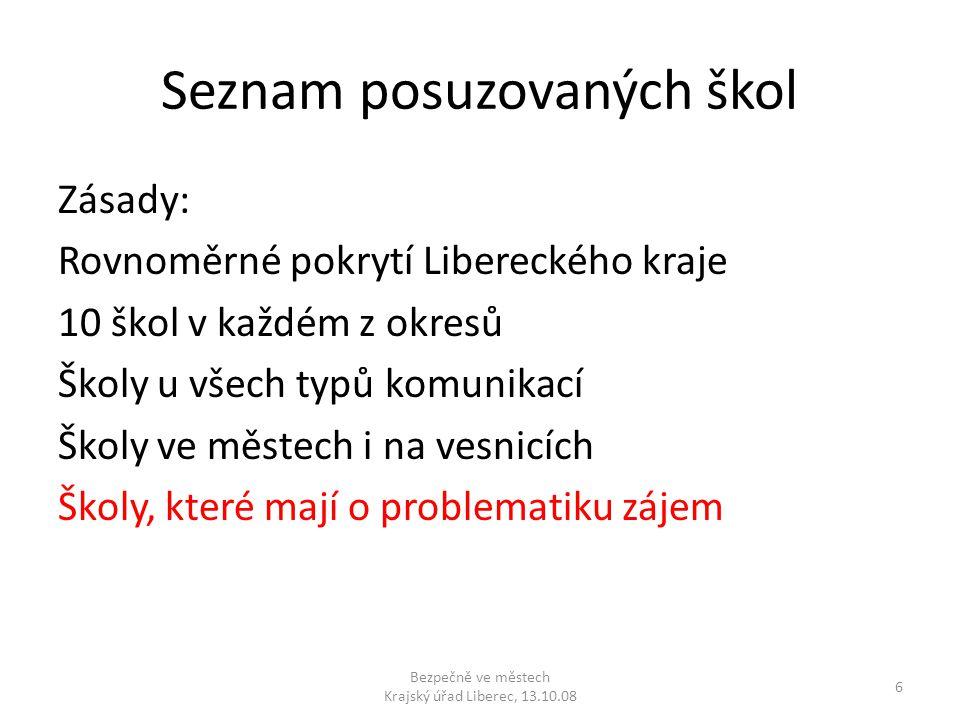 Seznam posuzovaných škol Zásady: Rovnoměrné pokrytí Libereckého kraje 10 škol v každém z okresů Školy u všech typů komunikací Školy ve městech i na ve