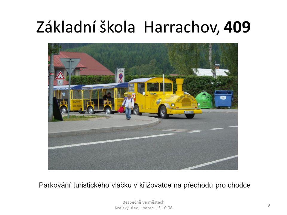Základní škola Harrachov, 409 Bezpečně ve městech Krajský úřad Liberec, 13.10.08 9 Parkování turistického vláčku v křižovatce na přechodu pro chodce