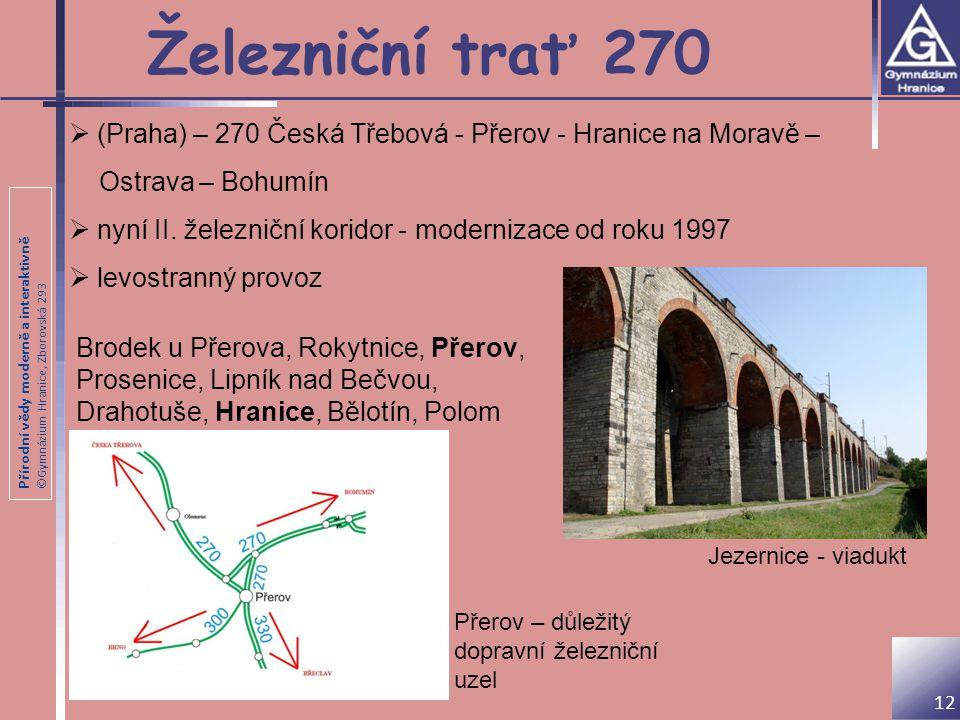 Přírodní vědy moderně a interaktivně ©Gymnázium Hranice, Zborovská 293 Železniční trať 270  (Praha) – 270 Česká Třebová - Přerov - Hranice na Moravě