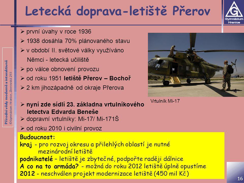 Přírodní vědy moderně a interaktivně ©Gymnázium Hranice, Zborovská 293 Letecká doprava-letiště Přerov  první úvahy v roce 1936  1938 dosáhla 70% plá