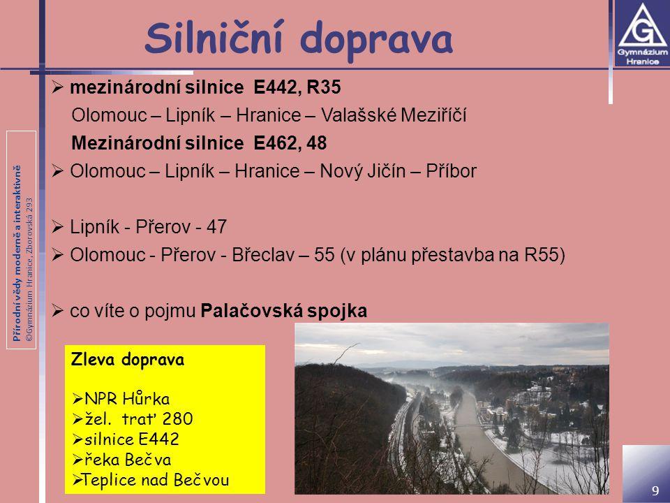 Přírodní vědy moderně a interaktivně ©Gymnázium Hranice, Zborovská 293 Silniční doprava  mezinárodní silnice E442, R35 Olomouc – Lipník – Hranice – V