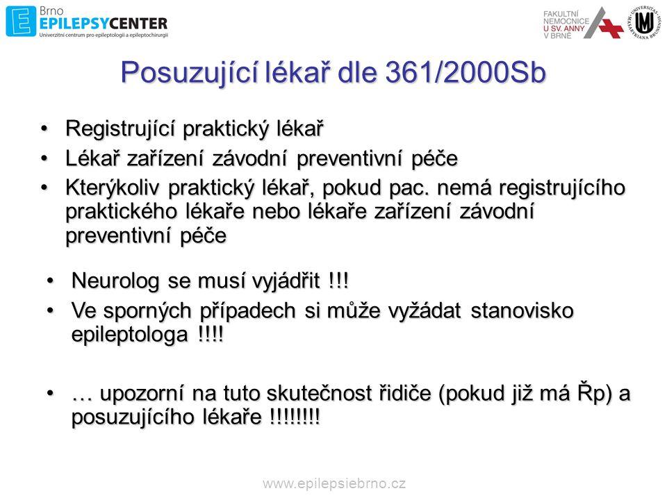 www.epilepsiebrno.cz Skupina oprávnění 2 (pracovně, OSVČ – taxi, sanitky, hasiči..) C, C+E, D, D+E a T, C1, C1+E, D1 a D1+E) Nemoci, vady a stavy u kterých lze uznat ZPŮSOBILOST k řízení na základě závěrů odborného vyšetření Provokovaný epileptický záchvat způsobený rozpoznatelným příčinným faktorem, který se při řízení zpravidla nevyskytuje Nemoci, které provází zvýšené riziko epileptických záchvatů, přestože k samotným záchvatům ještě nedošlo; jde o strukturální poškození mozku, kdy je zvýšené riziko vzniku záchvatů, riziko záchvatů musí být vyšší než 2% za jeden rok