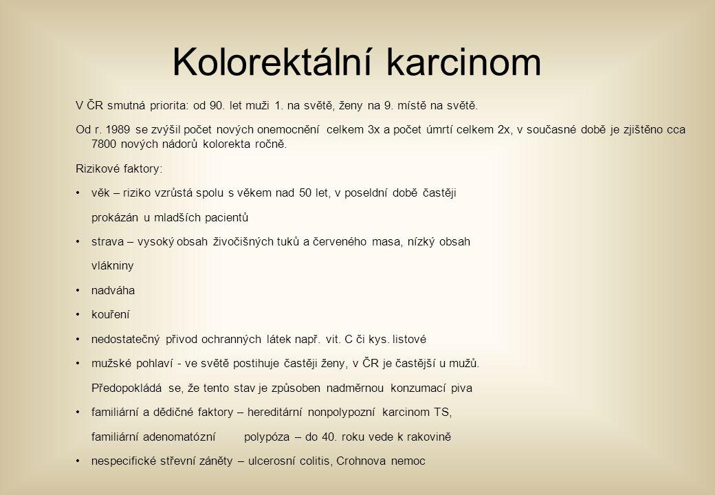 Kolorektální karcinom V ČR smutná priorita: od 90. let muži 1. na světě, ženy na 9. místě na světě. Od r. 1989 se zvýšil počet nových onemocnění celke