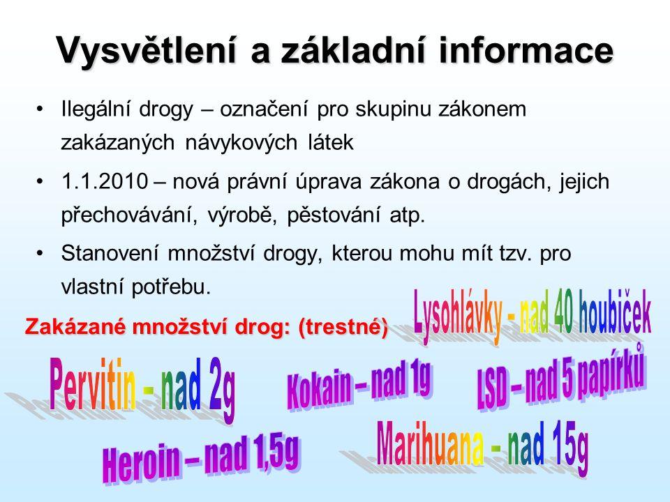 Vysvětlení a základní informace •Ilegální drogy – označení pro skupinu zákonem zakázaných návykových látek •1.1.2010 – nová právní úprava zákona o dro