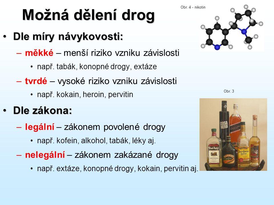 Možná dělení drog •Dle míry návykovosti: –měkké – menší riziko vzniku závislosti •např. tabák, konopné drogy, extáze –tvrdé – vysoké riziko vzniku záv