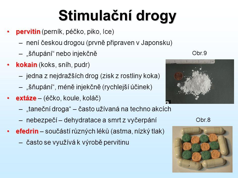"""Stimulační drogy •pervitin •pervitin (perník, péčko, piko, Ice) –není českou drogou (prvně připraven v Japonsku) –""""šňupání"""" nebo injekčně •kokain •kok"""