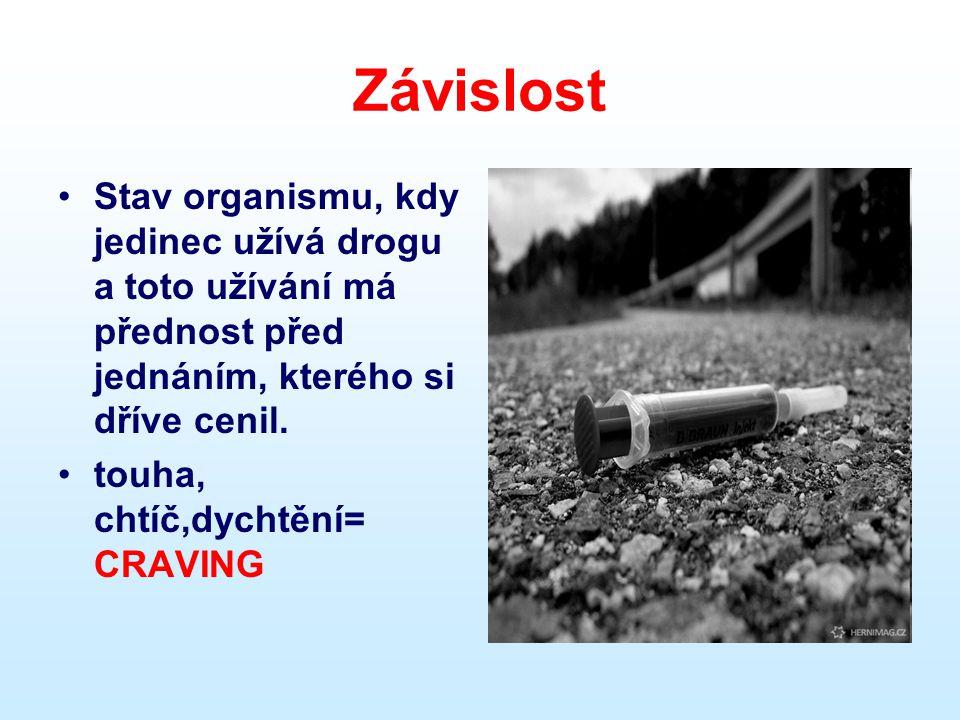Závislost •Stav organismu, kdy jedinec užívá drogu a toto užívání má přednost před jednáním, kterého si dříve cenil. •touha, chtíč,dychtění= CRAVING