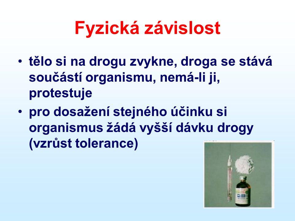 Fyzická závislost •tělo si na drogu zvykne, droga se stává součástí organismu, nemá-li ji, protestuje •pro dosažení stejného účinku si organismus žádá