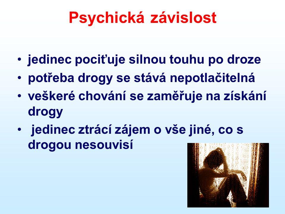 Obecné příznaky závislosti •Silná touha užívat drogu •Snížená možnost kontroly •Užívání drogy k odstranění abstinenčních příznaků •Potřeba vyšších dávek k dosažení žádoucího stavu •Zanedbávání rodiny, přátel,škola…