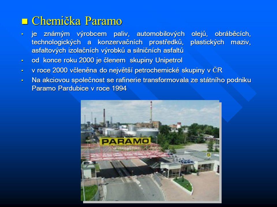  Chemička Paramo • je známým výrobcem paliv, automobilových olejů, obráběcích, technologických a konzervačních prostředků, plastických maziv, asfaltových izolačních výrobků a silničních asfaltů • od konce roku 2000 je členem skupiny Unipetrol • v roce 2000 včleněna do největší petrochemické skupiny v Č R • Na akciovou společnost se rafinerie transformovala ze státního podniku Paramo Pardubice v roce 1994