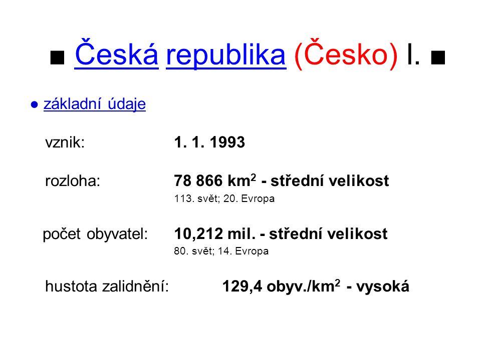 ■ Česká republika (Česko) I. ■ ● základní údaje vznik:1. 1. 1993 rozloha: 78 866 km 2 - střední velikost 113. svět; 20. Evropa počet obyvatel: 10,212