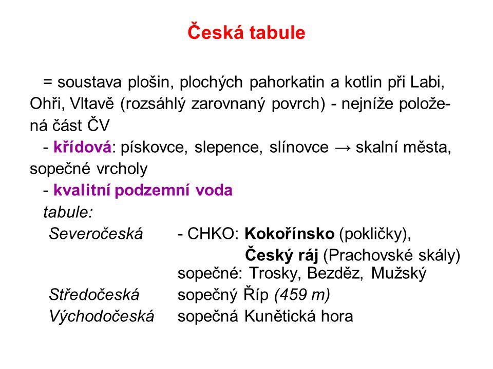 Česká tabule = soustava plošin, plochých pahorkatin a kotlin při Labi, Ohři, Vltavě (rozsáhlý zarovnaný povrch) - nejníže polože- ná část ČV - křídová