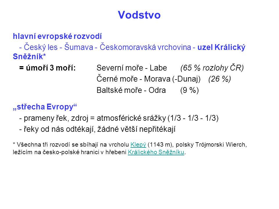 Vodstvo hlavní evropské rozvodí - Český les - Šumava - Českomoravská vrchovina - uzel Králický Sněžník* = úmoří 3 moří:Severní moře - Labe(65 % rozloh