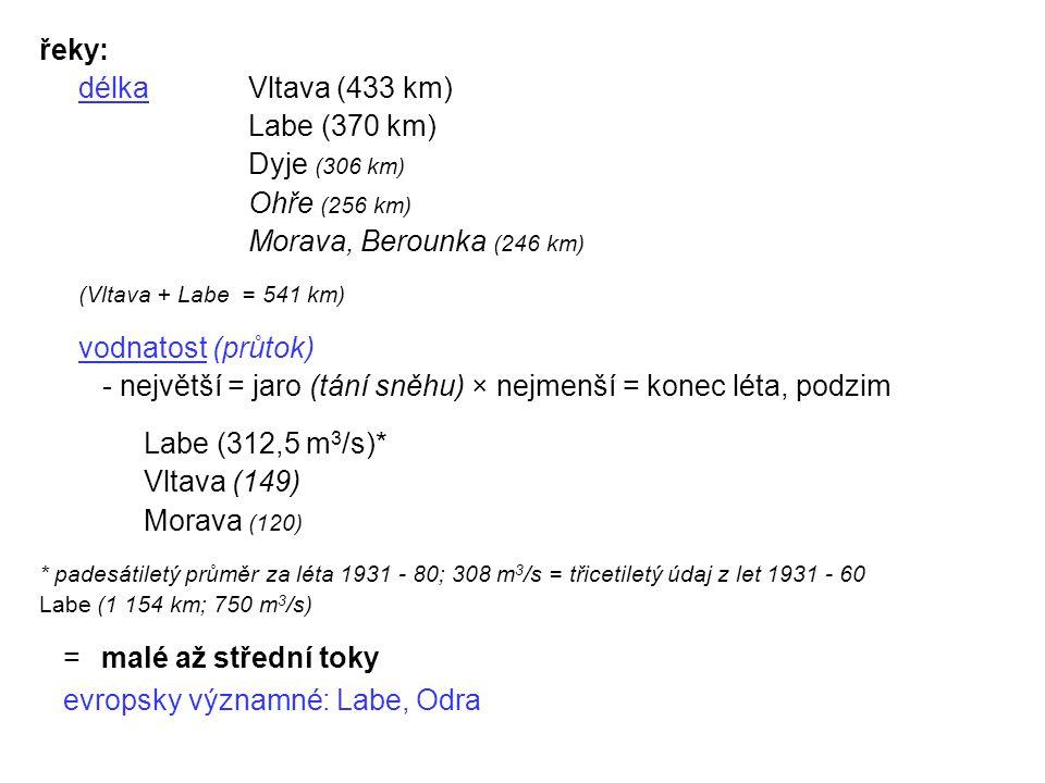 řeky: délkaVltava (433 km) Labe (370 km) Dyje (306 km) Ohře (256 km) Morava, Berounka (246 km) (Vltava + Labe = 541 km) vodnatost (průtok) - největší