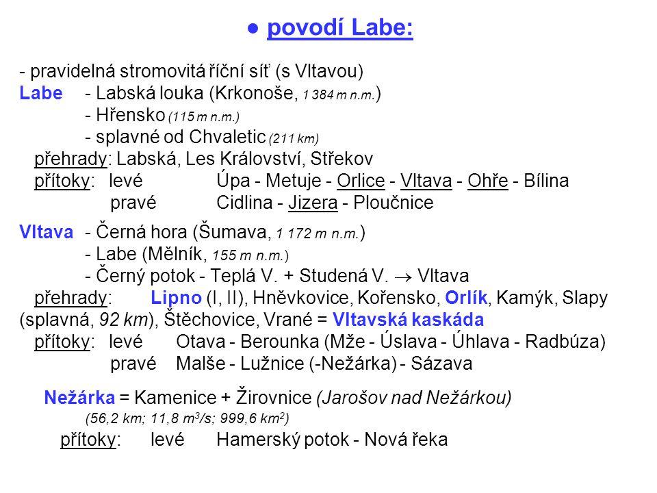 ● povodí Labe: - pravidelná stromovitá říční síť (s Vltavou) Labe - Labská louka (Krkonoše, 1 384 m n.m. ) - Hřensko (115 m n.m.) - splavné od Chvalet