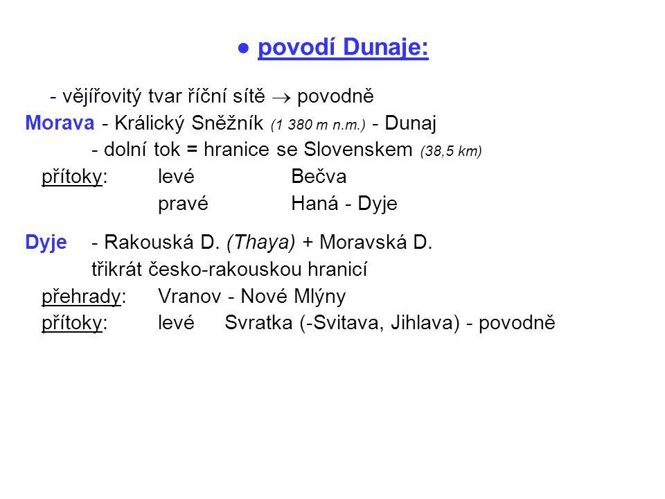 ● povodí Dunaje: - vějířovitý tvar říční sítě  povodně Morava - Králický Sněžník (1 380 m n.m.) - Dunaj - dolní tok = hranice se Slovenskem (38,5 km)