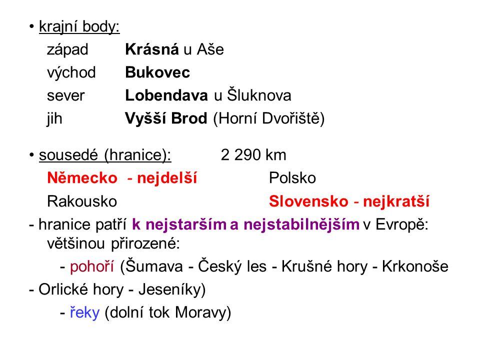 ■ vodní nádrže: - přírodní (jezera) - umělé (rybníky, přehrady) jezera - vznik: ledovcová - Šumava (5 v ČR; 3 v Bavorsku) Černé (18,47 ha; 39,8 m) - Čertovo - Plešné - Prášilské - Laka (Pleso)- Krkonoše (Polsko) krasová - Moravský kras (Horní jezírko v Macoše) - Hranický kras (204,5 m sonda, je asi hlubší) - Boskovická jeskyně rašelinná- Šumava (Chalupská slať 1,3 ha; 1,5 m hloubka a Tříje- zerní slať)- Hrubý Jeseník (Malé a Velké Mechové jezírko; 0,17 ha; 2,95 m hloubka ) - Krušné hory - Jizerské hory