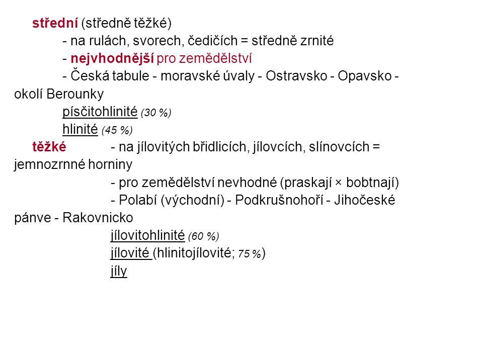střední (středně těžké) - na rulách, svorech, čedičích = středně zrnité - nejvhodnější pro zemědělství - Česká tabule - moravské úvaly - Ostravsko - O
