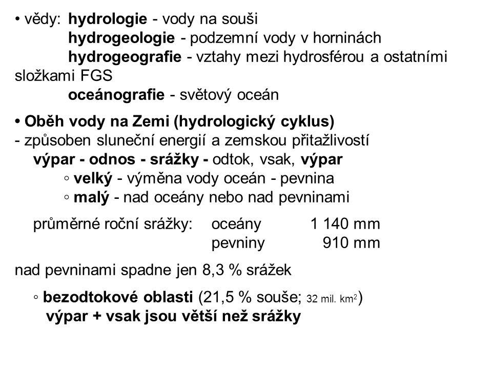 • vědy: hydrologie - vody na souši hydrogeologie - podzemní vody v horninách hydrogeografie - vztahy mezi hydrosférou a ostatními složkami FGS oceánografie - světový oceán • Oběh vody na Zemi (hydrologický cyklus) - způsoben sluneční energií a zemskou přitažlivostí výpar - odnos - srážky - odtok, vsak, výpar ◦ velký - výměna vody oceán - pevnina ◦ malý - nad oceány nebo nad pevninami průměrné roční srážky:oceány1 140 mm pevniny 910 mm nad pevninami spadne jen 8,3 % srážek ◦ bezodtokové oblasti (21,5 % souše; 32 mil.