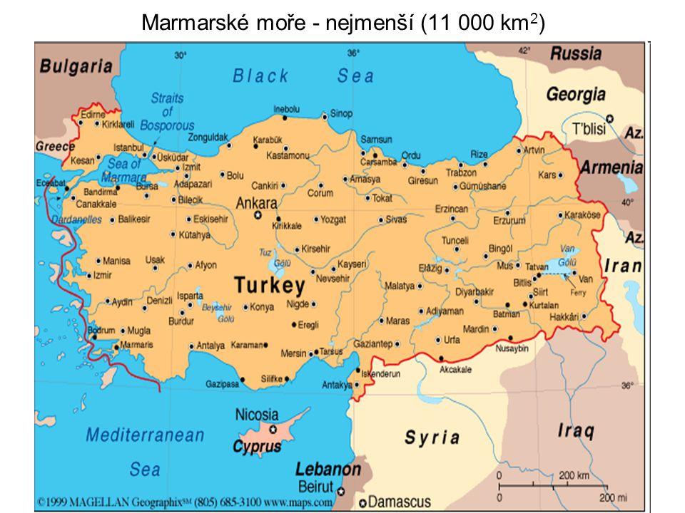 Marmarské moře - nejmenší (11 000 km 2 )