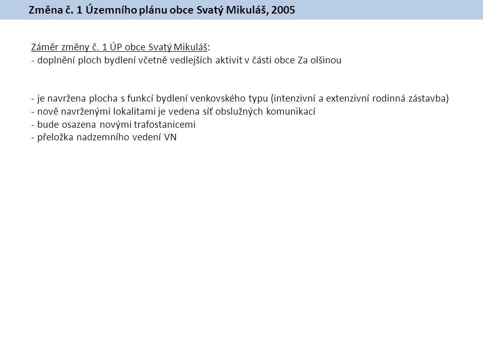 Změna č.1 Územního plánu obce Svatý Mikuláš, 2005 Záměr změny č.