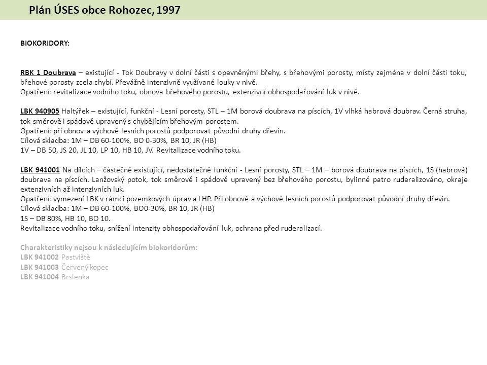 Plán ÚSES obce Rohozec, 1997 BIOKORIDORY: RBK 1 Doubrava – existující - Tok Doubravy v dolní části s opevněnými břehy, s břehovými porosty, místy zejména v dolní části toku, břehové porosty zcela chybí.