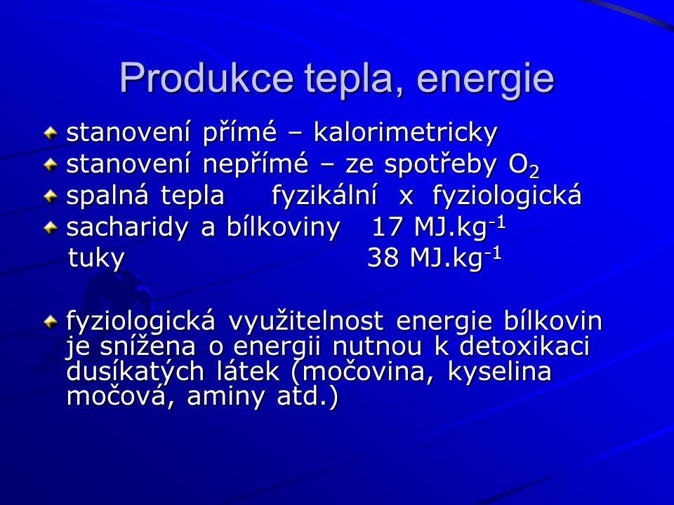 Produkce tepla, energie stanovení přímé – kalorimetricky stanovení nepřímé – ze spotřeby O 2 spalná tepla fyzikální x fyziologická sacharidy a bílkoviny 17 MJ.kg -1 tuky 38 MJ.kg -1 tuky 38 MJ.kg -1 fyziologická využitelnost energie bílkovin je snížena o energii nutnou k detoxikaci dusíkatých látek (močovina, kyselina močová, aminy atd.)