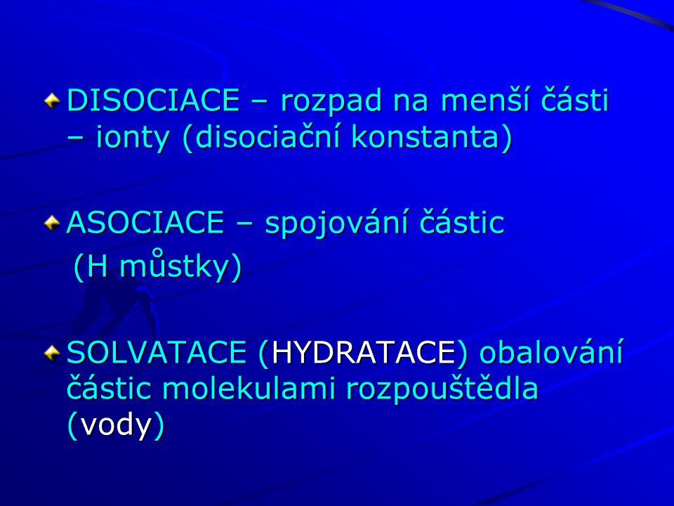 DISOCIACE – rozpad na menší části – ionty (disociační konstanta) ASOCIACE – spojování částic (H můstky) (H můstky) SOLVATACE (HYDRATACE) obalování částic molekulami rozpouštědla (vody)