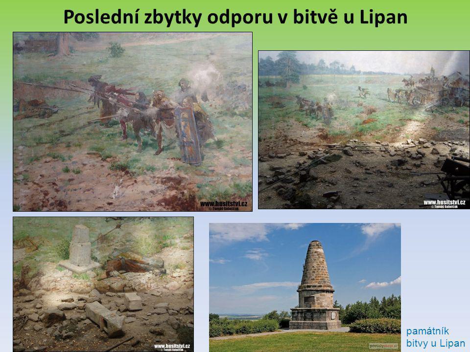 Poslední zbytky odporu v bitvě u Lipan památník bitvy u Lipan