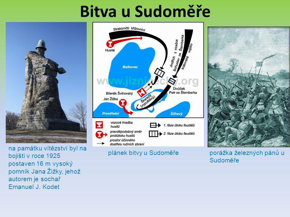 Bitva u Sudoměře na památku vítězství byl na bojišti v roce 1925 postaven 16 m vysoký pomník Jana Žižky, jehož autorem je sochař Emanuel J. Kodet plán
