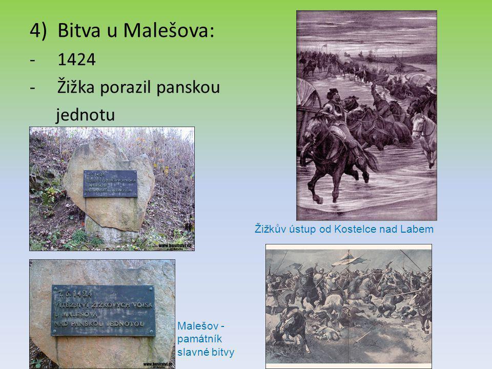 4)Bitva u Malešova: -1424 -Žižka porazil panskou jednotu Žižkův ústup od Kostelce nad Labem Malešov - památník slavné bitvy