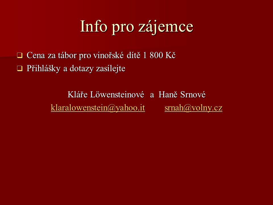 Info pro zájemce  Cena za tábor pro vinořské dítě 1 800 Kč  Přihlášky a dotazy zasílejte Kláře Löwensteinové a Haně Srnové klaralowenstein@yahoo.itk