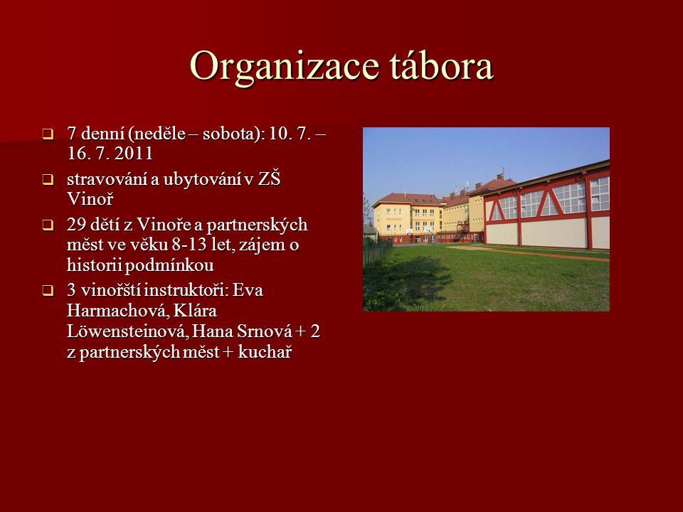 Organizace tábora  7 denní (neděle – sobota): 10. 7. – 16. 7. 2011  stravování a ubytování v ZŠ Vinoř  29 dětí z Vinoře a partnerských měst ve věku