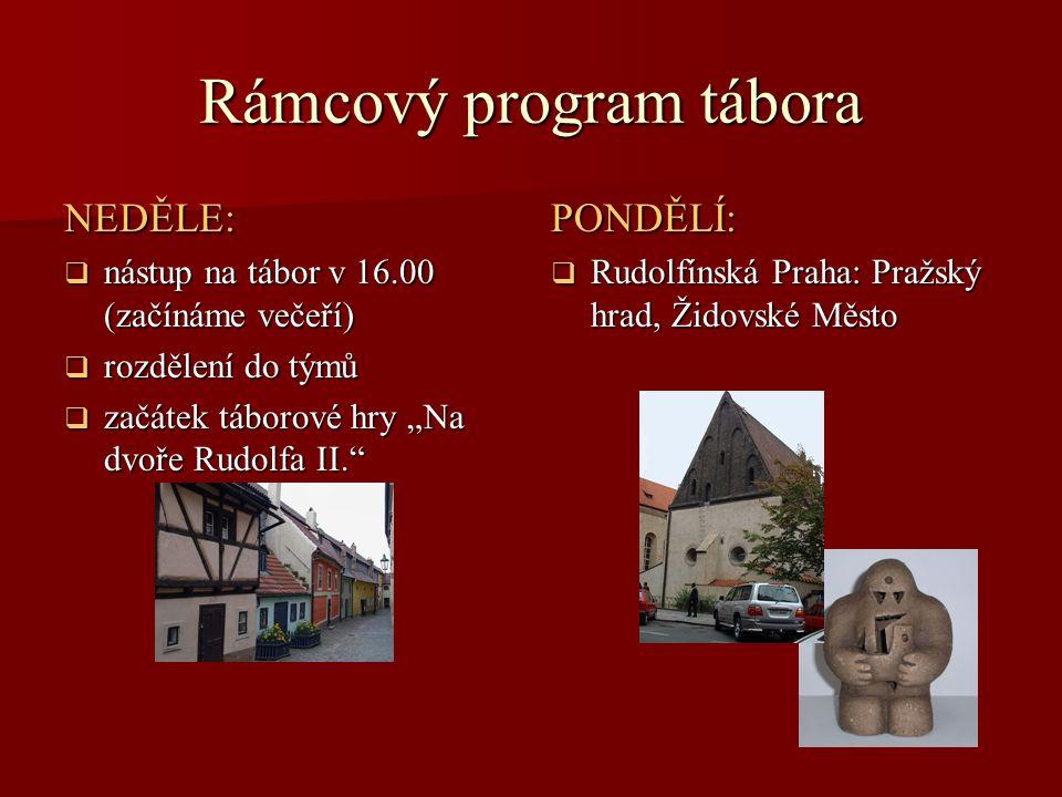 """Rámcový program tábora NEDĚLE:  nástup na tábor v 16.00 (začínáme večeří)  rozdělení do týmů  začátek táborové hry """"Na dvoře Rudolfa II."""" PONDĚLÍ:"""