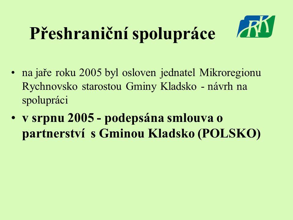 Přeshraniční spolupráce •na jaře roku 2005 byl osloven jednatel Mikroregionu Rychnovsko starostou Gminy Kladsko - návrh na spolupráci •v srpnu 2005 - podepsána smlouva o partnerství s Gminou Kladsko (POLSKO)