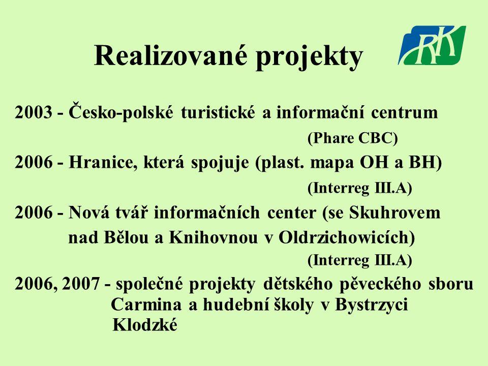 Realizované projekty 2003 - Česko-polské turistické a informační centrum (Phare CBC) 2006 - Hranice, která spojuje (plast.