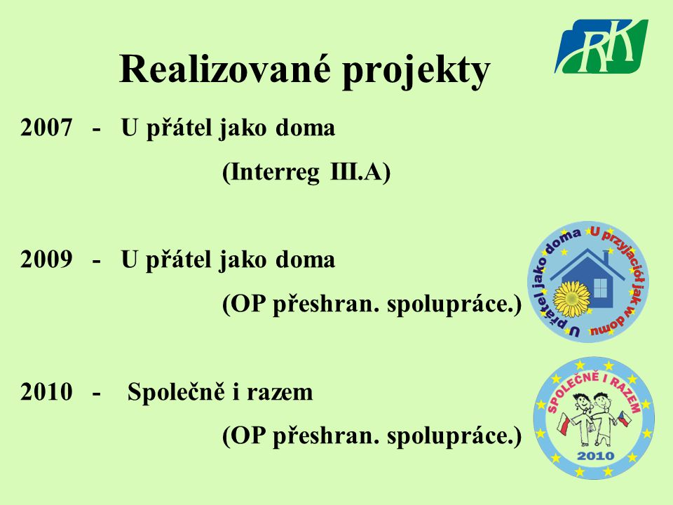 Realizované projekty 2007 - U přátel jako doma (Interreg III.A) 2009 - U přátel jako doma (OP přeshran. spolupráce.) 2010 - Společně i razem (OP přesh