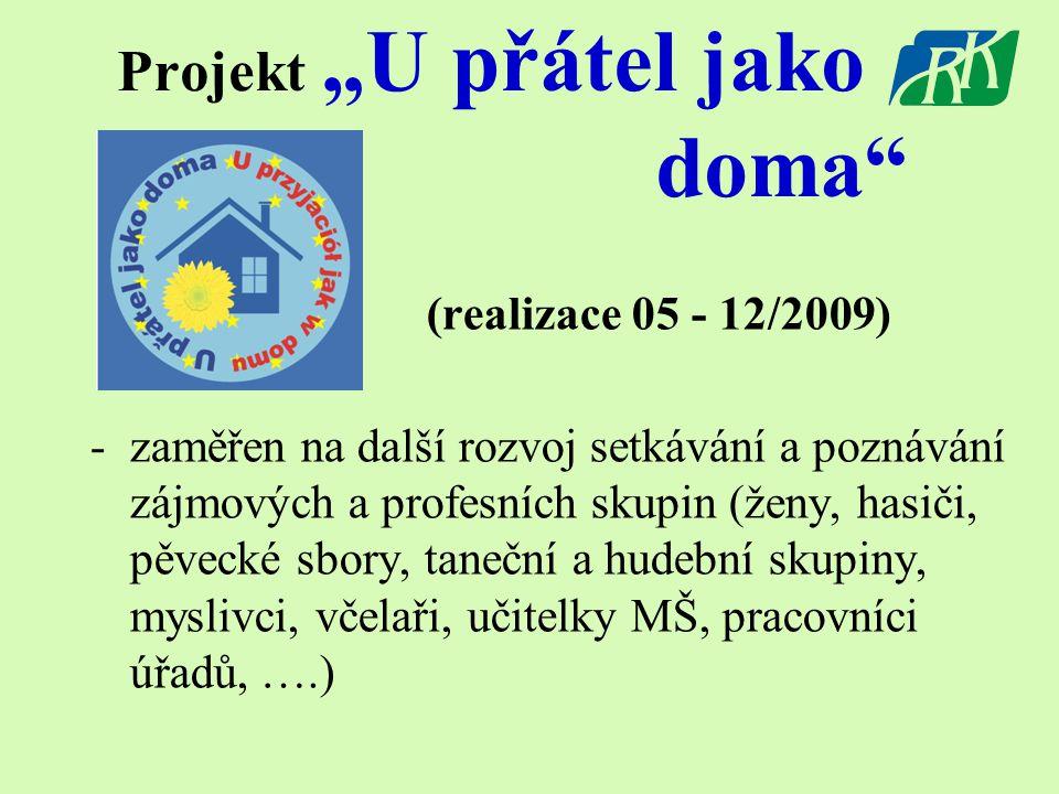 """Projekt """"U přátel jako doma (realizace 05 - 12/2009) -zaměřen na další rozvoj setkávání a poznávání zájmových a profesních skupin (ženy, hasiči, pěvecké sbory, taneční a hudební skupiny, myslivci, včelaři, učitelky MŠ, pracovníci úřadů, ….)"""
