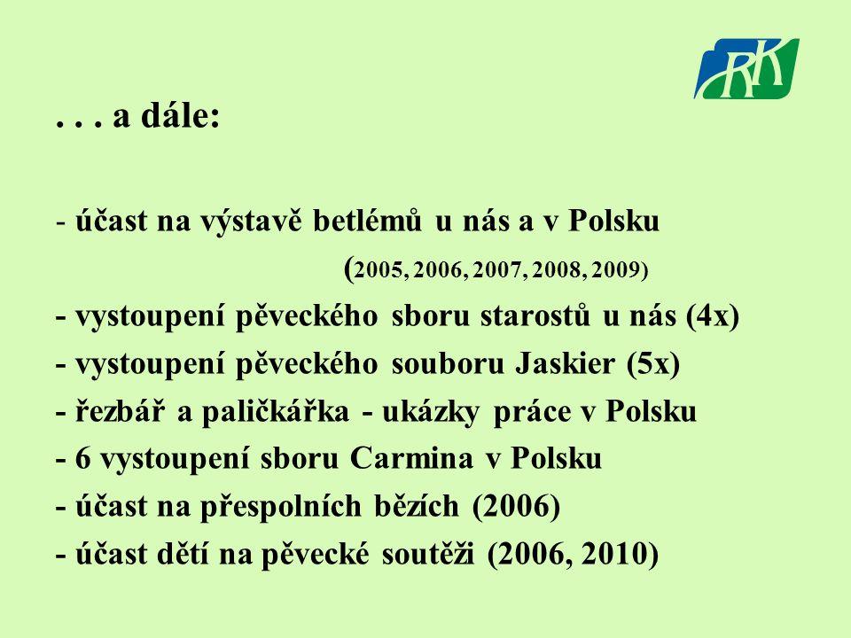 ... a dále: - účast na výstavě betlémů u nás a v Polsku ( 2005, 2006, 2007, 2008, 2009) - vystoupení pěveckého sboru starostů u nás (4x) - vystoupení