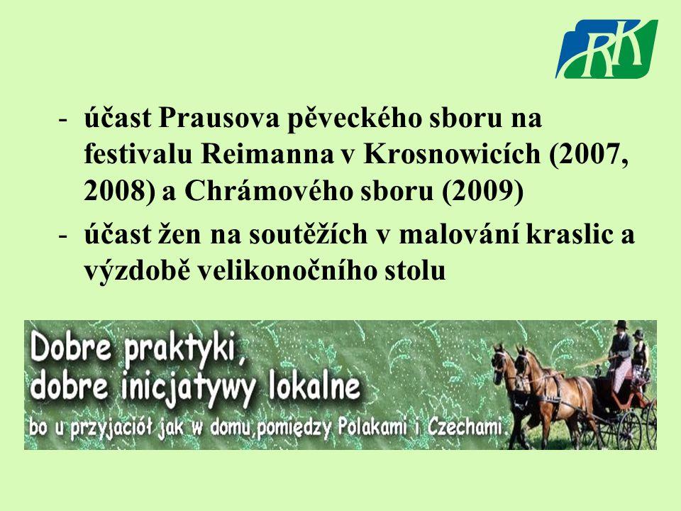-účast Prausova pěveckého sboru na festivalu Reimanna v Krosnowicích (2007, 2008) a Chrámového sboru (2009) -účast žen na soutěžích v malování kraslic a výzdobě velikonočního stolu
