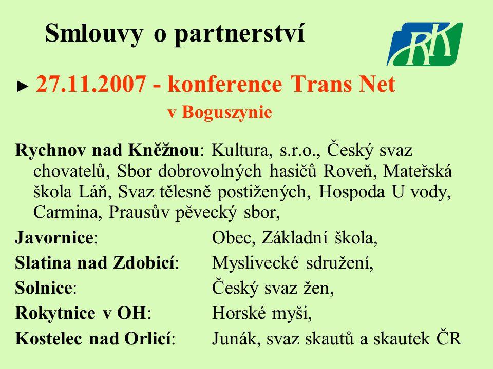 Smlouvy o partnerství ► 27.11.2007 - konference Trans Net v Boguszynie Rychnov nad Kněžnou: Kultura, s.r.o., Český svaz chovatelů, Sbor dobrovolných h