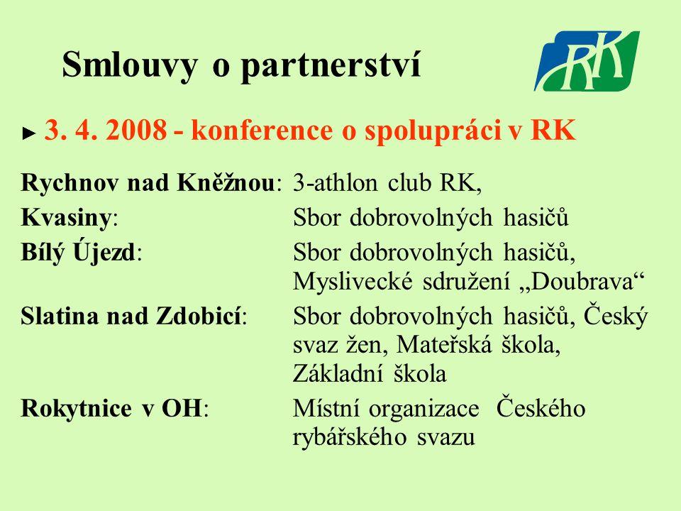 Smlouvy o partnerství ► 3. 4. 2008 - konference o spolupráci v RK Rychnov nad Kněžnou: 3-athlon club RK, Kvasiny: Sbor dobrovolných hasičů Bílý Újezd: